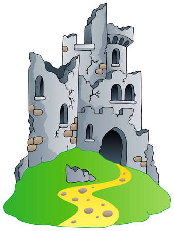 ruins is ancient: Castle ruins on hill - vector illustration