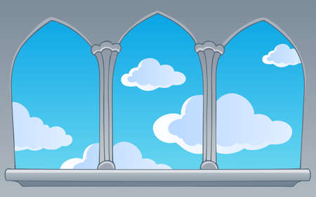Castle window view on blue sky - vector illustration  Vector