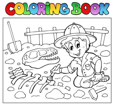 dinosaurio caricatura: Libro para colorear de dinosaurios excavadora - ilustración vectorial