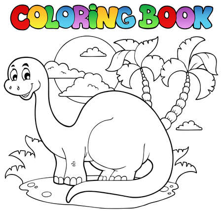herbivorous: Coloring book dinosaur scene 1 - vector illustration