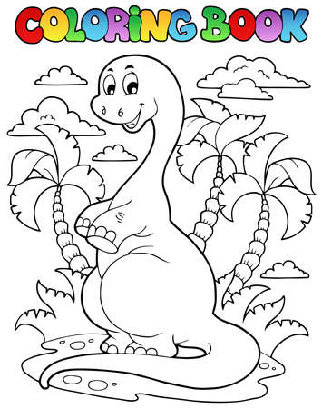 ancient books: Coloring book dinosaur scene 2 - vector illustration  Illustration