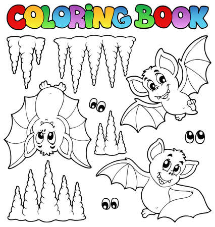 eyes cave: Coloring book with bats - vector illustration  Illustration