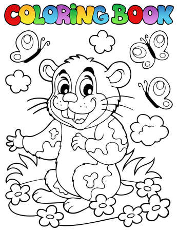 Coloring book with cartoon hamster - vector illustration  Vector