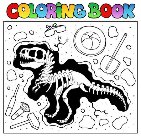 paleontology: Coloring book with excavation site - vector illustration  Illustration