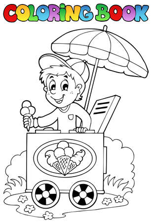 vendors: Coloring book with ice cream man - vector illustration