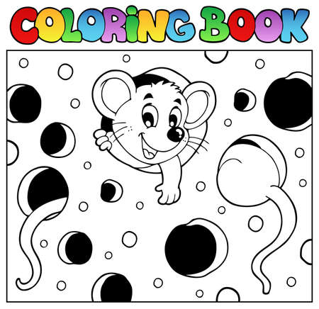 mouse hole: Coloring book with mouse 2 - vector illustration