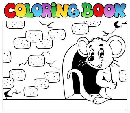 fluffy ears: Coloring book with mouse 3 - vector illustration