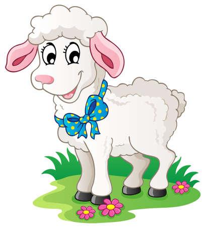 Cute cartoon lamb - vector illustration