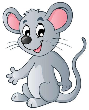furry animals: Ratón de dibujos animados lindo - ilustración vectorial