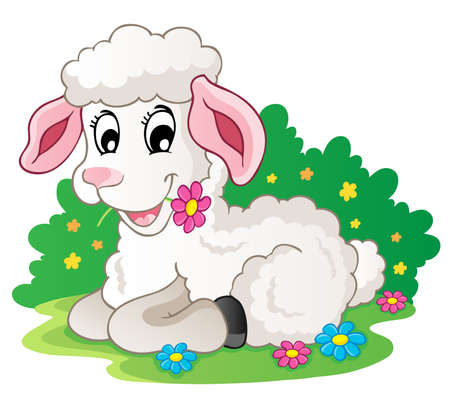 spring lambs: Cute lamb with flowers - vector illustration