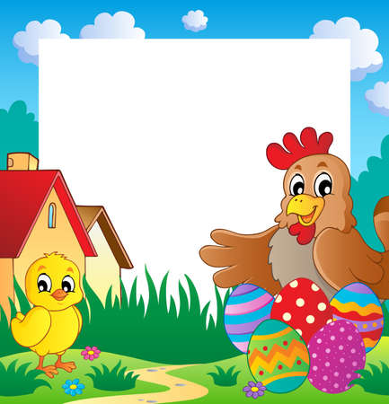 Frame with Easter theme 2 - vector illustration  Vector