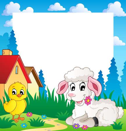 pasen schaap: Frame met Pasen thema 3 - vector illustratie