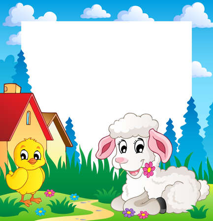 lamb cartoon: Frame with Easter theme 3 - vector illustration  Illustration