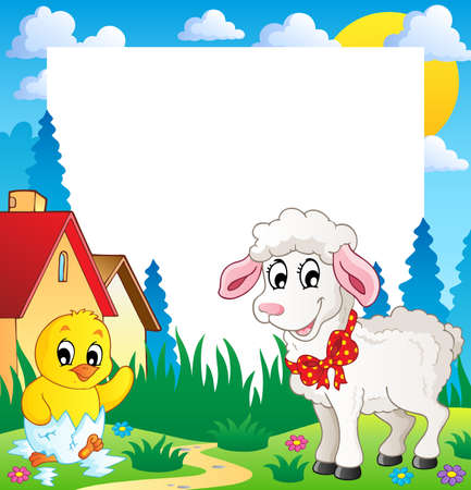 Frame with Easter theme 4 - vector illustration  Vector