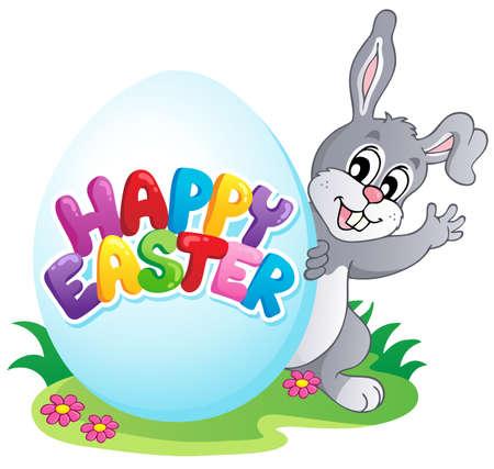 easter rabbit: Happy Easter sign theme image 4 - vector illustration  Illustration