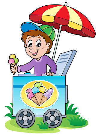 vendors: Happy ice cream man - vector illustration