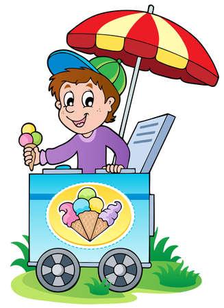 Happy ice cream man - vector illustration