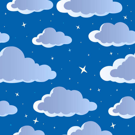 cloudy night sky: Night sky seamless background 1 - vector illustration  Illustration