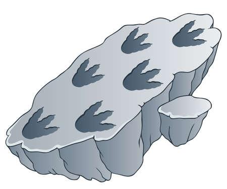 cartoon dinosaur: Rock with dinosaur footprints - vector illustration
