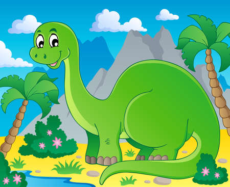 Scene with dinosaur 1 - vector illustration  Vector
