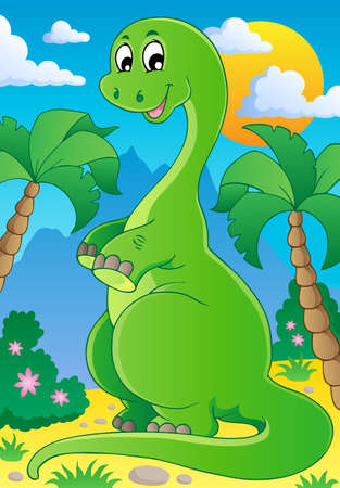 Scene with dinosaur 2 - vector illustration  Illustration