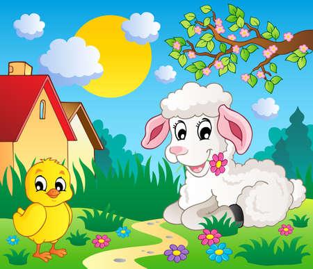 domestic scenes: Scene with spring season theme 4 - vector illustration  Illustration