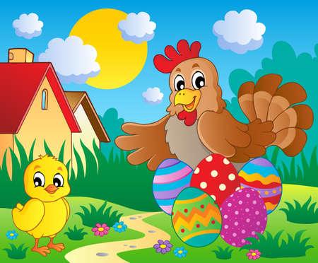 eggshells: Escena con el tema de la primavera la temporada 5 - ilustraci�n vectorial