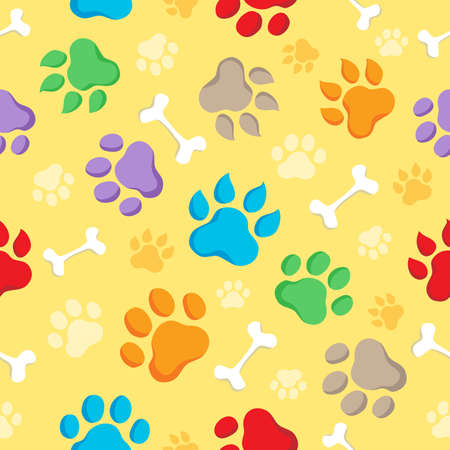 animal paw prints: Seamless background with paws 1 - vector illustration