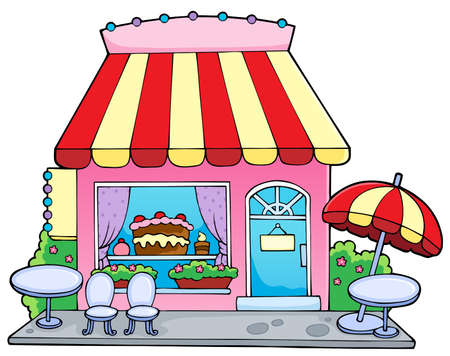 vendors: Cartoon candy store - vector illustration