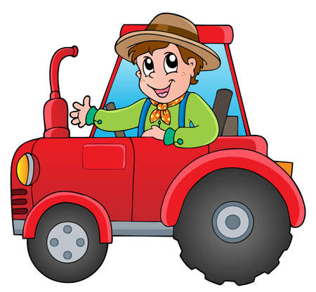 Cartoon farmer on tractor - vector illustration  Illustration