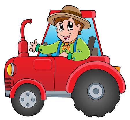 granja caricatura: Cartoon granjero en tractor - ilustración vectorial Vectores