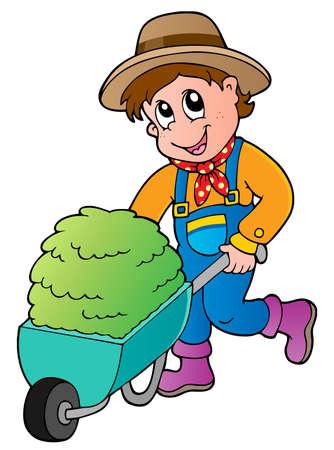 agricultor: Caricatura agricultor con carro de heno peque�a - ilustraci�n vectorial
