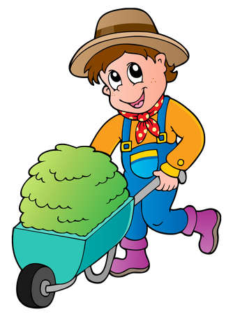 handcart: Cartoon farmer with small hay cart - vector illustration