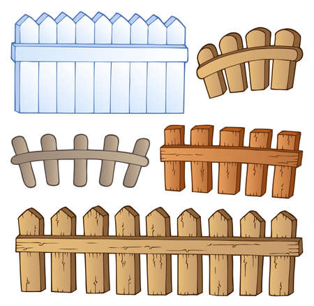 barrier: Cartoon fences collection - vector illustration
