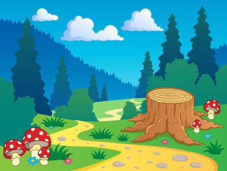 stump: Cartoon forest landscape 7 - vector illustration  Illustration