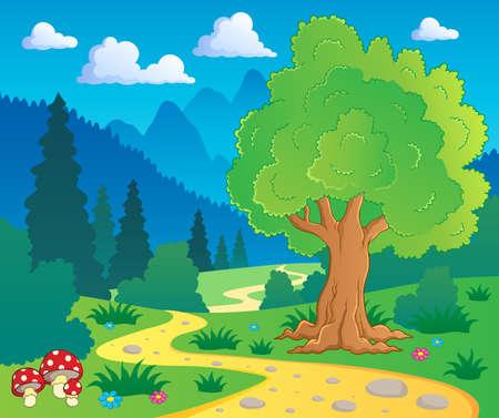 scenic background: Cartoon forest landscape 8 - vector illustration  Illustration