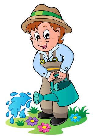 watering: Cartoon tuinman met gieter - vector illustratie Stock Illustratie