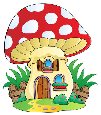 fairy toadstool: Cartoon mushroom house - vector illustration