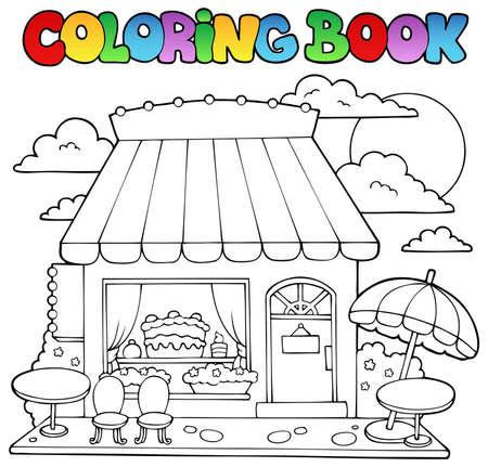 casita de dulces: Libro para colorear de dibujos animados tienda de caramelos - ilustración vectorial Vectores