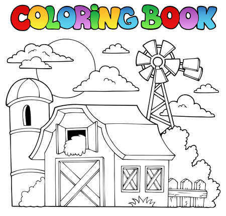 barn and silo coloring book farm theme 1 vector illustration illustration