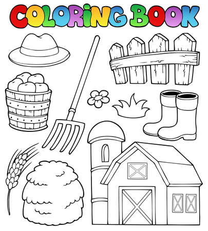 Coloring book farm theme 2 - vector illustration  Vector