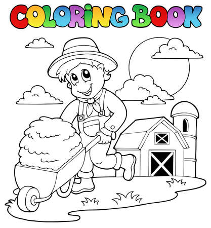 farmhouse: Coloring book farm theme 3 - vector illustration