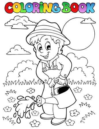watering: Kleurboek tuin en tuinman - vector illustratie Stock Illustratie