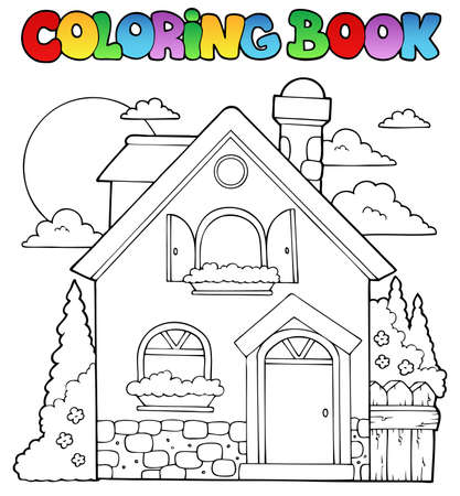 clipart chimney: Coloring book house theme image 1 - vector illustration