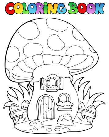 cartoon fairy: Coloring book mushroom house - vector illustration