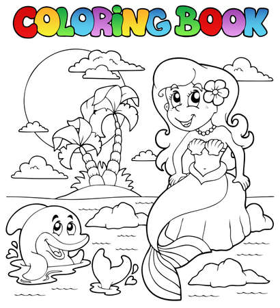 Coloring book ocean and mermaid 1 - vector illustration  Vector