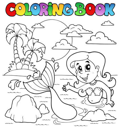 Coloring book ocean and mermaid 2 - vector illustration  Vector