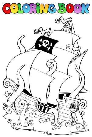 libro caricatura: Libro para colorear con un barco pirata - ilustración vectorial