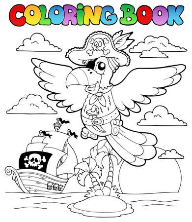 Coloring book with pirate theme 2 - vector illustration  Vector