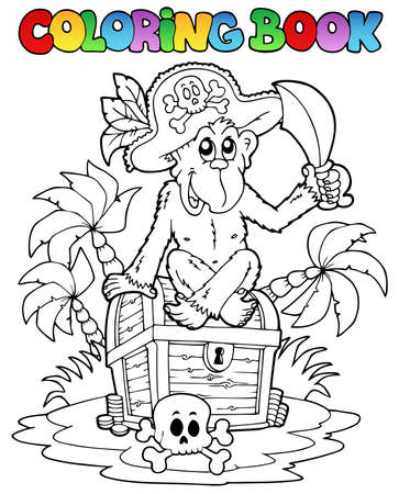 book case: Coloring book with pirate theme 3 - vector illustration